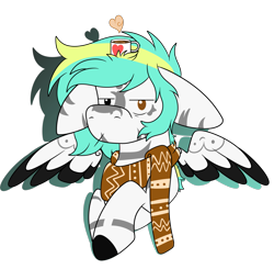 Size: 1831x1797 | Tagged: safe, artist:rokosmith26, oc, oc only, oc:rokosmith, pegasus, pony, big ears, chocolate, clothes, colored wings, cup, female, floppy ears, food, heart, hot chocolate, looking at you, mare, markings, mug, multicolored wings, scarf, short hair, short mane, simple background, solo, spread wings, transparent background, tribal markings, wings