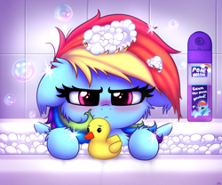 Size: 3000x2500 | Tagged: safe, artist:heavymetalbronyyeah, rainbow dash, pegasus, pony, angry, bath, bathroom, blushing, bubble, bubble bath, cheek fluff, chest fluff, cute, daaaaaaaaaaaw, dashabetes, ear fluff, female, floppy ears, fluffy, glare, heavymetalbrony is trying to murder us, looking at you, madorable, mare, messy mane, pone, pone wash, poner, rainbow dash is not amused, rubber duck, solo, sparkles, unamused, weapons-grade cute, wet, wet mane