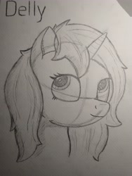 Size: 3456x4608   Tagged: safe, artist:zocidem, oc, oc only, oc:delly, pony, unicorn, drawing, sketch, solo, traditional art