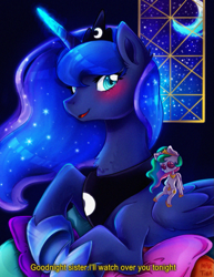 Size: 917x1185 | Tagged: safe, artist:meqiopeach, princess celestia, princess luna, alicorn, pony, art, blushing, bust, commission, cute, drawing, dream, female, glowing horn, glowing mane, horn, indoors, lunabetes, magic, mare, moon, moonlight, night, night sky, plushie, quote, shading, shadow, sky, solo, sparkles, toy, ych example, ych result
