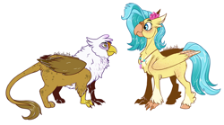 Size: 1500x831 | Tagged: safe, artist:owlcoholik, gilda, princess skystar, classical hippogriff, griffon, hippogriff, my little pony: the movie, simple background, size difference, white background