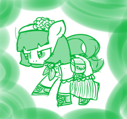 Size: 640x600 | Tagged: safe, artist:ficficponyfic, part of a set, oc, oc only, oc:mulberry telltale, cyoa:madness in mournthread, angry, boots, clothes, cyoa, dress, ears up, flower, glare, headband, monochrome, neckerchief, shawl, shoes, story included