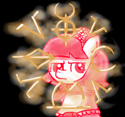 Size: 640x600 | Tagged: safe, artist:ficficponyfic, part of a set, oc, oc only, oc:mulberry telltale, cyoa:madness in mournthread, cyoa, flower, frown, glowing, headband, looking to the right, magic runes, monochrome, neckerchief, shawl, story included, thinking, thoughtful