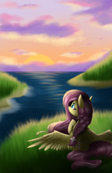 Size: 1500x2320 | Tagged: safe, artist:crystalbay, fluttershy, bird, pegasus, pony, admiring, awe, beautiful, braid, braided, chest fluff, cloud, cute, fanart, female, flower, flower in hair, grass, island, lake, looking, looking at something, looking away, looking up, mare, ocean, outdoors, pretty, raised hoof, reflection, relaxed, scenery, seashore, shore, sitting, sky, solo, spread wings, spreading, sunset, water, wave, wings