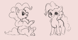 Size: 3604x1855 | Tagged: safe, artist:miokomata, pinkie pie, earth pony, pony, cute, diapinkes, female, looking at you, mare, monochrome, simple background, sitting, sketch, solo