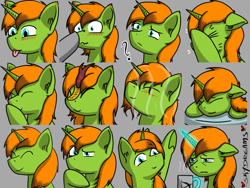 Size: 1024x768 | Tagged: safe, artist:skydreams, oc, oc only, oc:arc pyre, kirin, pony, unicorn, :p, blushing, boop, coffee, coffee mug, commission, confused, emoji, emotes, eyes closed, facehoof, giggling, kirin-ified, magic, male, mug, pillow, pointing, question mark, sleeping, smiling, species swap, stallion, steam, thinking, tired, tongue out, wet, wet mane