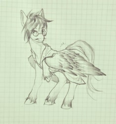 Size: 1781x1899   Tagged: safe, artist:阿毛, oc, oc only, oc:dr.picsell dois, pegasus, clothes, facial hair, glasses, graph paper, lab coat, male, moustache, sketch, solo, stallion, traditional art, unshorn fetlocks