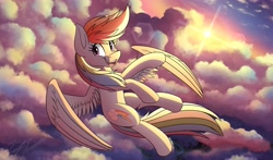 Size: 4096x2412 | Tagged: safe, artist:kaylerustone, rainbow dash, pegasus, pony, cloud, female, flying, high res, mare, open mouth, sky, solo, spread wings, sunset, wings