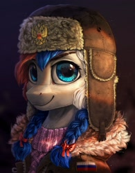 Size: 1920x2460   Tagged: safe, artist:rysunkowasucharia, oc, oc only, oc:marussia, earth pony, pony, bust, clothes, female, hat, jacket, looking at you, mare, nation ponies, ponified, portrait, russia, smiling, solo, sweater, ushanka