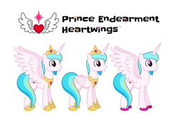 Size: 1280x873 | Tagged: safe, artist:parclytaxel, artist:starponys87, oc, oc only, oc:prince endearment, alicorn, pony, alicorn oc, angelic wings, armor, crown, heart, horn, jewelry, male, male alicorn, male alicorn oc, peytral, regalia, simple background, smiling, spread wings, stallion, unshorn fetlocks, white background, wings