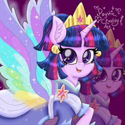 Size: 1100x1100 | Tagged: safe, artist:payshiechastityart, twilight sparkle, alicorn, pony, the last problem, clothes, colored wings, coronation dress, crown, cute, dress, ear piercing, earring, female, jewelry, mare, multicolored wings, piercing, rainbow wings, regalia, second coronation dress, solo, twiabetes, twilight sparkle (alicorn), wing bling, wings, zoom layer
