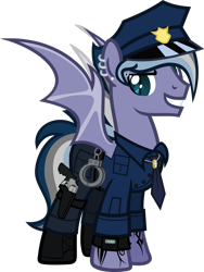 Size: 1920x2560 | Tagged: safe, artist:n0kkun, oc, oc:night storm (ice1517), bat pony, pony, bat pony oc, bat wings, boots, clothes, cuffs, ear piercing, earring, eyebrow piercing, grin, gun, handgun, hat, holster, jewelry, male, multicolored hair, necklace, necktie, pants, piercing, police, police hat, police officer, revolver, ring, shirt, shoes, simple background, smiling, solo, stallion, tattoo, transparent background, watch, weapon, wedding ring, wings, wristwatch