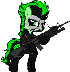 Size: 6000x6150 | Tagged: safe, artist:n0kkun, oc, oc only, oc:aventurine, earth pony, pony, assault rifle, bipedal, boots, camouflage, clothes, commission, face paint, female, gloves, grenade launcher, gritted teeth, gun, hoof hold, jacket, m16, m16a1, m203, mare, pants, rifle, shoes, simple background, solo, transparent background, weapon