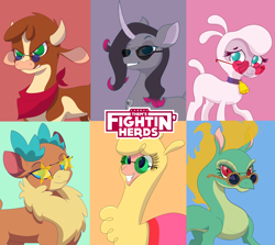Size: 15500x13800 | Tagged: safe, artist:imposter dude, arizona cow, oleander, paprika paca, pom lamb, tianhuo, velvet reindeer, alpaca, cow, deer, dragon, eastern dragon, hybrid, lamb, longma, reindeer, sheep, unicorn, them's fightin' herds, absurd resolution, barely pony related, beef, bunch of animals, chinese dragon, community related, fightin' six, food, meat, wallpaper
