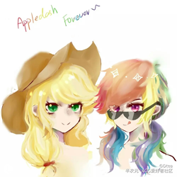 Size: 1000x1000 | Tagged: safe, artist:dtea, applejack, rainbow dash, human, alternate hairstyle, appledash, applejack's hat, cowboy hat, female, hat, head only, humanized, lesbian, looking at you, pigtails, shipping, simple background, sunglasses, tongue out, twintails, white background