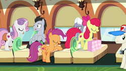 Size: 1920x1080 | Tagged: safe, screencap, apple bloom, lucky clover, royal riff, scootaloo, sweetie belle, growing up is hard to do, cutie mark crusaders, older