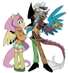 Size: 2222x2355   Tagged: safe, artist:pinweena30, discord, fluttershy, human, pegasus, equestria girls, clothes, discoshy, female, humanized, looking at each other, male, shipping, socks, straight, sweater, sweatershy, thigh highs, zettai ryouiki