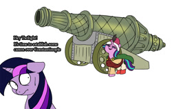 Size: 900x567 | Tagged: safe, artist:slamjam, starlight glimmer, twilight sparkle, pony, unicorn, cannon, clothes, duo, female, floppy ears, historical roleplay starlight, looking back, mare, ottoman empire, scared, shrunken pupils, simple background, unicorn twilight, white background