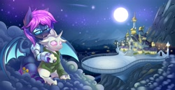 Size: 6144x3160 | Tagged: safe, artist:ask-colorsound, oc, oc:bitmaker, oc:opal mask, bat pony, changeling, albino, albino changeling, amputee, bat pony oc, bat wings, canterlot, canterlot castle, changeling oc, cloud, high res, moon, prosthetic limb, prosthetics, shooting star, stars, wings