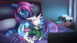 Size: 7680x4320 | Tagged: safe, artist:ask-colorsound, oc, oc:bitmaker, oc:opal mask, bat pony, changeling, alarm clock, albino, albino changeling, bed, bedroom, clock, clothes, glasses, high res, hoodie, television, tesla cybertruck, watching tv