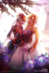Size: 800x1200 | Tagged: safe, artist:signiroha, applejack, rainbow dash, human, appledash, braid, bride, clothes, dress, duo, female, flower, humanized, lesbian, marriage, necktie, shipping, suit, twin braids, wedding, wedding dress, wedding veil