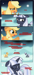 Size: 1919x4225 | Tagged: safe, artist:estories, applejack, oc, oc:silverlay, earth pony, pony, unicorn, comic:a(pple)ffection, comic, crying, dialogue, duo, eyes closed, female, floppy ears, horn, looking at each other, mare, raised hoof, show accurate, teary eyes, unamused, unicorn oc, worried