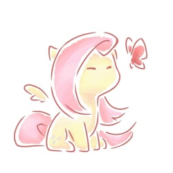 Size: 800x800 | Tagged: safe, artist:云观雾里, fluttershy, butterfly, pegasus, chibi, eyes closed, female, floating wings, mare, simple background, sitting, solo, white background, wings