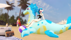 Size: 1920x1080 | Tagged: safe, artist:gr-vinyl-scratch, dj pon-3, vinyl scratch, anthro, unicorn, 3d, beach, beach ball, beach blanket, clothes, cooler, female, inflatable, inflatable toy, jeep, mare, one-piece swimsuit, palm tree, pool toy, puffypaws, radio, seadragon, sfm pony, source filmmaker, surfboard, swimsuit, tree