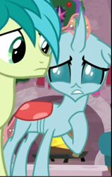 Size: 369x582 | Tagged: safe, screencap, ocellus, sandbar, the hearth's warming club, cropped, nervous, solo focus