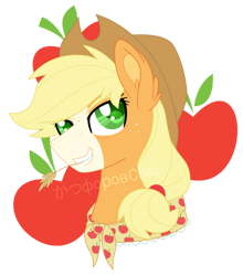 Size: 800x908 | Tagged: safe, artist:katsuforov-chan, artist:shiiazu, applejack, earth pony, pony, blaze (coat marking), colored pupils, cutie mark, digital art, ear fluff, freckles, granny smith's scarf, grin, hat, older, older applejack, ponytail, simple background, smiling, solo, straw in mouth, transparent background, watermark