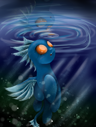 Size: 1200x1600 | Tagged: safe, artist:intfighter, oc, oc only, changedling, changeling, blue changeling, changedling oc, changeling oc, reflection, smiling, solo, underwater
