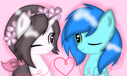 Size: 1346x810 | Tagged: safe, artist:starflashing twinkle, oc, pegasus, unicorn, looking at each other, oc x oc, one eye closed, shipping, simple background