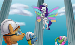Size: 5000x3000 | Tagged: safe, artist:tauts05, merry may, rarity, classical unicorn, pegasus, pony, unicorn, sonic rainboom (episode), cloven hooves, glimmer wings, hard hat, leonine tail, safety goggles, scene interpretation, unshorn fetlocks, weather factory uniform, wings