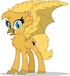 Size: 1280x1387 | Tagged: safe, artist:mlp-trailgrazer, oc, oc:gilded dash, hippogriff, bat wings, female, hybrid wings, simple background, solo, transparent background, wings