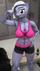 Size: 720x1280 | Tagged: safe, artist:forgiveme4ihavesinned, limestone pie, anthro, earth pony, 3d, belly button, clothes, female, flexing, hand on hip, muscles, muscular female, sfm pony, shorts, solo, sports bra