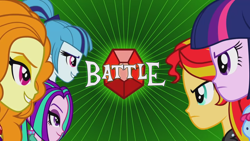 Size: 1920x1080 | Tagged: safe, screencap, adagio dazzle, aria blaze, sonata dusk, sunset shimmer, twilight sparkle, equestria girls, rainbow rocks, battle of the bands, face to face, female, gem, grin, siren gem, smiling, the dazzlings, title card, youtube link