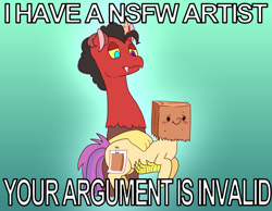 Size: 680x527 | Tagged: safe, artist:wasatdrawing, oc, oc:paper bag, draconequus, draconequus oc, fake cutie mark, meme, your argument is invalid