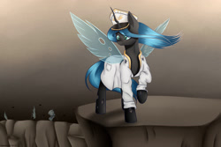 Size: 3000x2000 | Tagged: safe, artist:brilliant-luna, queen chrysalis, changeling, changeling queen, equestria at war mod, cap, clothes, commander, female, flag, hat, raised hoof, rock, solo, solo female