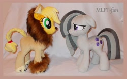 Size: 3600x2232 | Tagged: safe, artist:calusariac, applejack, marble pie, pony, animal costume, applelion, clothes, costume, floppy ears, irl, photo, plushie