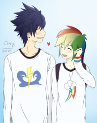 Size: 1124x1425 | Tagged: safe, artist:soarinbolt11, rainbow dash, soarin', human, anime style, blushing, clothes, female, humanized, male, shipping, shirt, simple background, soarindash, straight