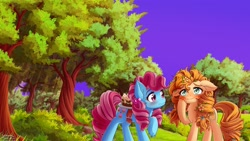 Size: 1920x1082 | Tagged: safe, artist:symbianl, cup cake, pear butter, earth pony, pony, blushing, cake, duo, female, flower, flower in hair, food, mare, purple sky, raised hoof, scene interpretation, scenery, smiling, tree