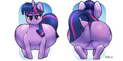 Size: 4000x2000 | Tagged: safe, artist:parumpi, twilight sparkle, pony, unicorn, friendship is magic, belly, butt, cutie mark, dock, fat, female, huge butt, large butt, mare, plump, twibutt, twilard sparkle, twilight has a big ass