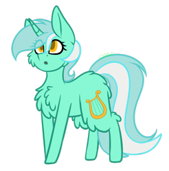 Size: 874x890 | Tagged: safe, artist:blue pines, part of a set, lyra heartstrings, pony, unicorn, :o, butt fluff, cheek fluff, chest fluff, eye clipping through hair, female, fluffy, horn, mare, open mouth, simple background, solo, transparent background