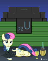 Size: 4000x5000 | Tagged: safe, artist:parclytaxel, bon bon, sweetie drops, earth pony, pony, series:joycall6's periodic table, lyra and bon bon and the mares from s.m.i.l.e., my little pony chapter books, .svg available, absurd resolution, alcohol, bottle, chemistry, chianti, chicago pile-1, clothes, draw me like one of your french girls, enrico fermi, female, glass, lidded eyes, looking at you, manhattan project, mare, necktie, periodic table, s.m.i.l.e., secret agent sweetie drops, shirt, side, smiling, smirk, solo, suit, uranium, uranium glass, vector, wine, wine glass