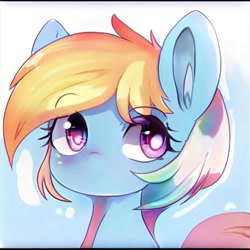 Size: 1024x1024 | Tagged: safe, artist:thisponydoesnotexist, neural network, no mouth, not rainbow dash