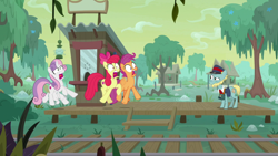 Size: 1920x1080 | Tagged: safe, screencap, apple bloom, loose tracks, scootaloo, sweetie belle, earth pony, pegasus, pony, unicorn, growing up is hard to do, cutie mark crusaders, older, scared, screaming