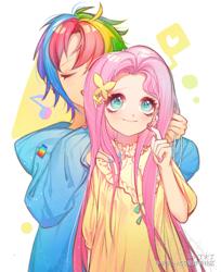 Size: 1248x1530 | Tagged: safe, artist:火丁火丁, fluttershy, rainbow dash, human, blushing, duo, duo female, female, flutterdash, humanized, lesbian, shipping
