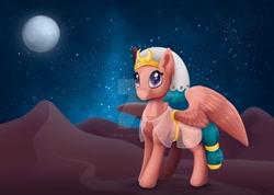 Size: 1280x909 | Tagged: safe, artist:safizejaart, somnambula, pony, desert, deviantart watermark, full moon, moon, night, obtrusive watermark, solo, starry night, stars, watermark