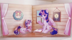 Size: 2048x1128 | Tagged: safe, artist:leafywind, starlight glimmer, twilight sparkle, alicorn, pony, unicorn, book, christmas wreath, cutout, duo, set, twilight sparkle (alicorn), wreath