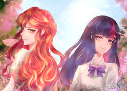 Size: 4000x2853 | Tagged: safe, artist:是戈廖哦, sunset shimmer, twilight sparkle, human, clothes, duo, duo female, female, humanized, lesbian, looking back, school uniform, schoolgirl, shipping, sunsetsparkle